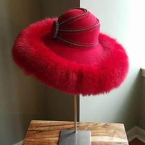 Lily & Taylor Wool Wide-brim Hat Fox Trim Sz M/L